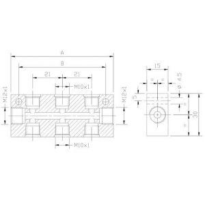 Blok dozownika podwójny (do mocowania i zasilania dozowników jednoliniowych)