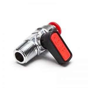 6570 - Mini zawór kulowy, gwint stożkowy zewnętrzny / przyłącze wtykowe do węża, mosiądz niklowany