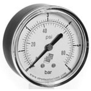 Wakuometr standardowy z podwójną skalą, przyłącze tylne, klasa dokładności 2,5
