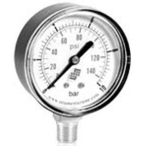 Wakuometr standardowy z podwójną skalą, przyłącze dolne, klasa dokładności 2,5