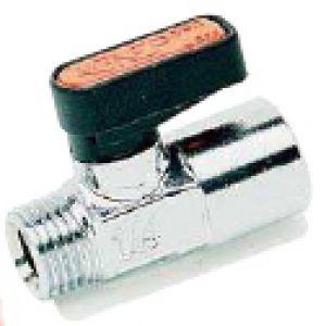 6320 - mini zawór kulowy, gwint stożkowy zewnętrzny / zewnętrzny, mosiądz niklowany